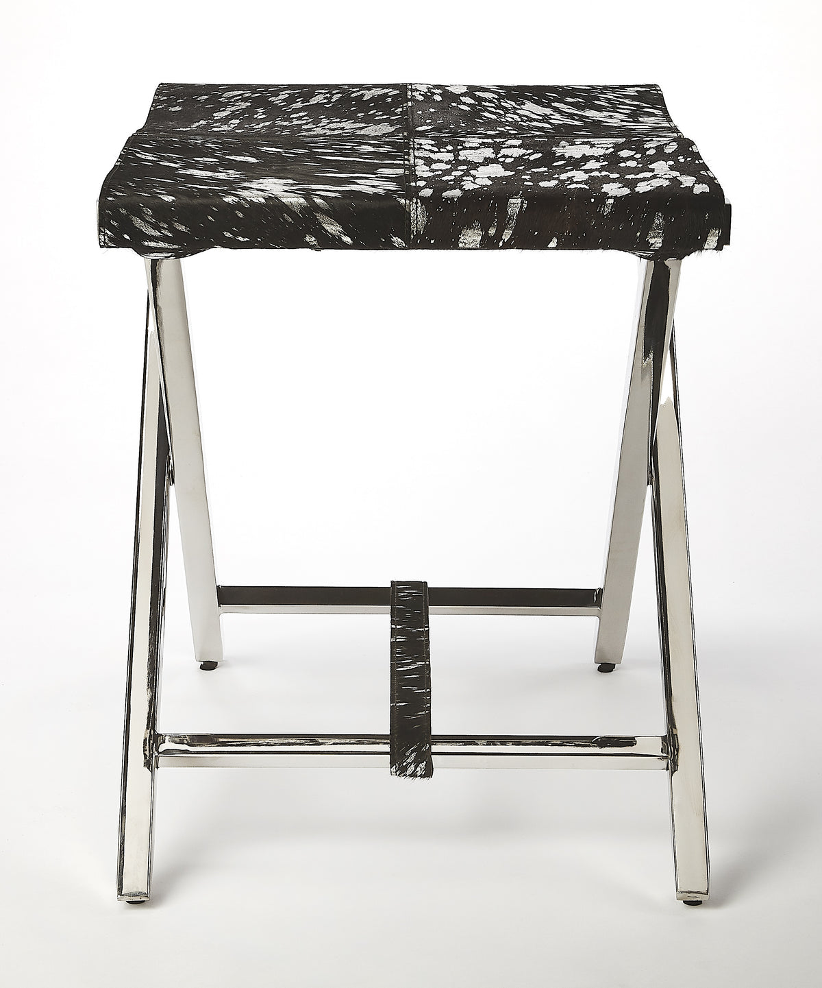 MATTEO - BLACK/SILVER HIDE & METAL - FOLDING STOOL