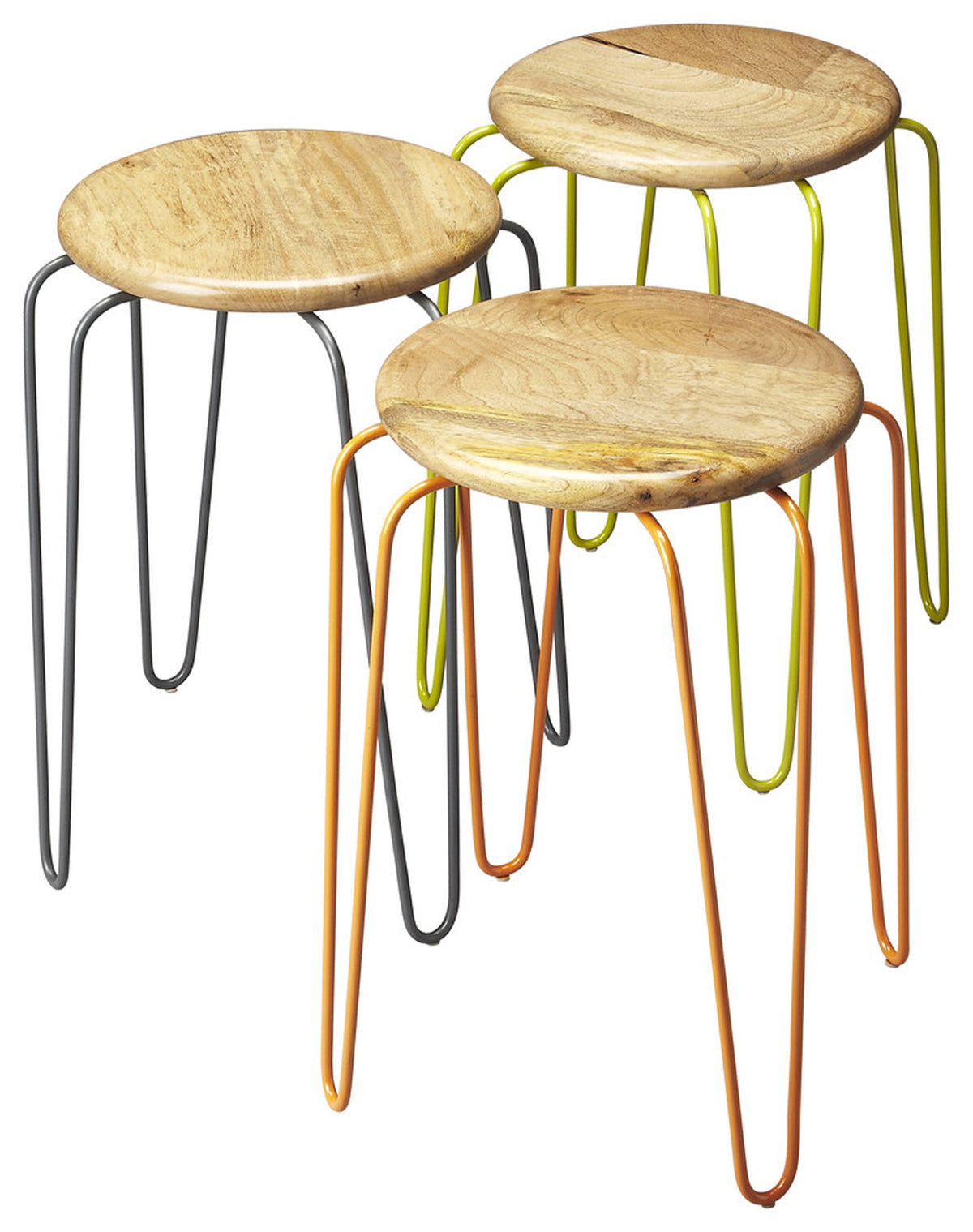 EASTON - WOOD & IRON - STACKABLE STOOLS