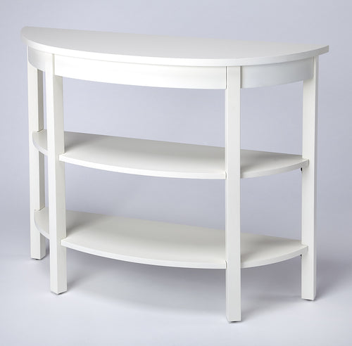 LARA - COTTAGE WHITE - DEMILUNE CONSOLE TABLE