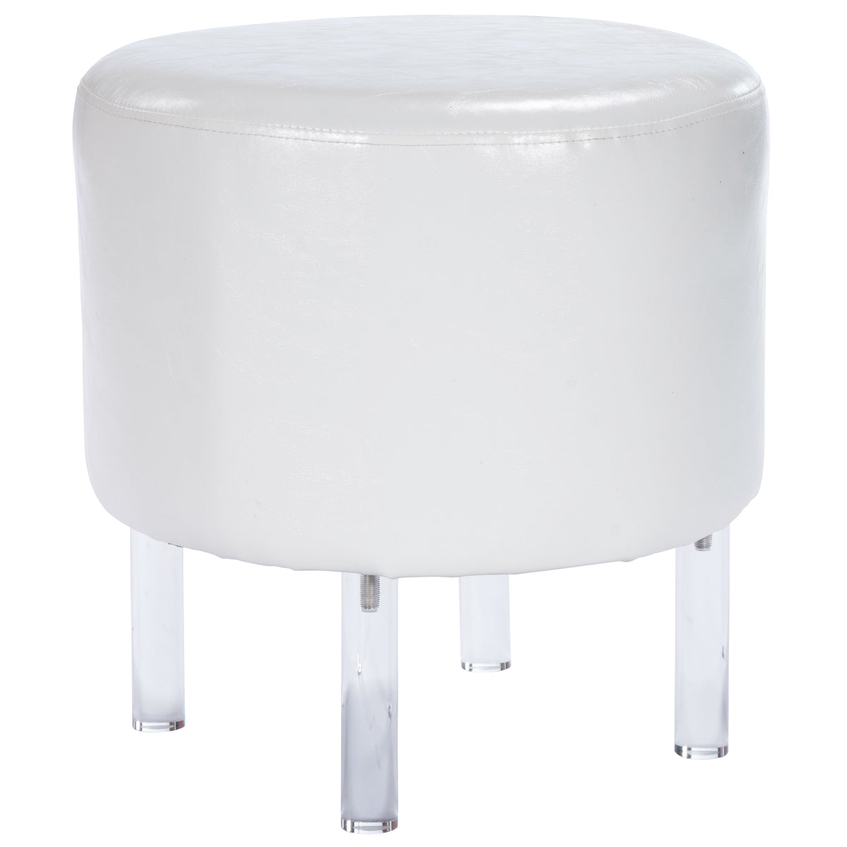 BORREGO - WHITE FAUX LEATHER & ACRYLIC - OTTOMAN