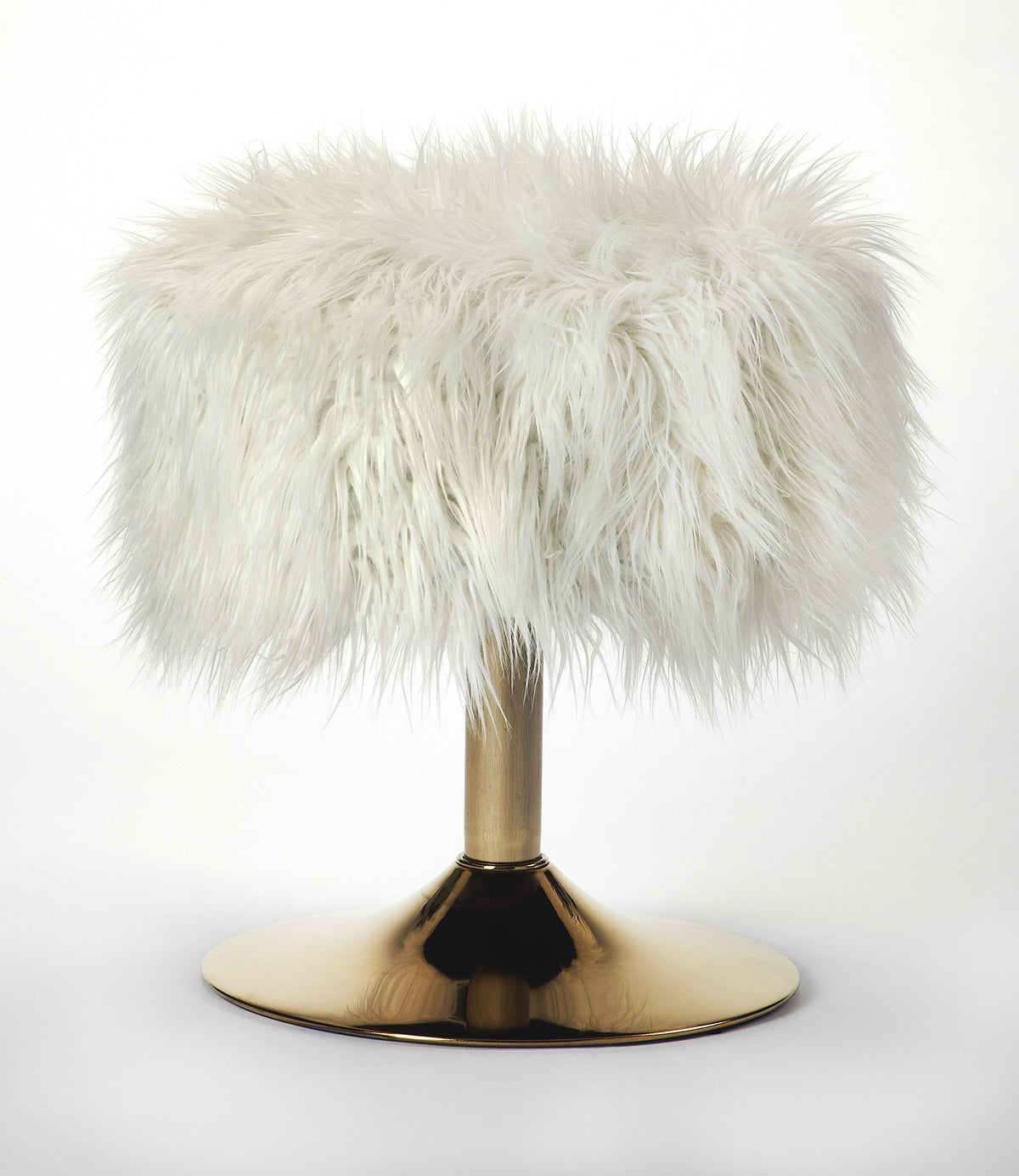NONA - WHITE FAUX FUR - STOOL
