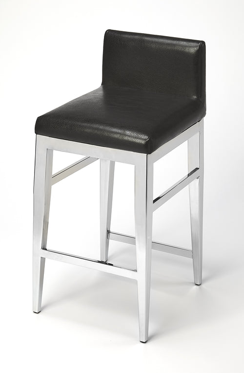 KELSEY - STAINLESS STEEL FAUX LEATHER - COUNTER STOOL