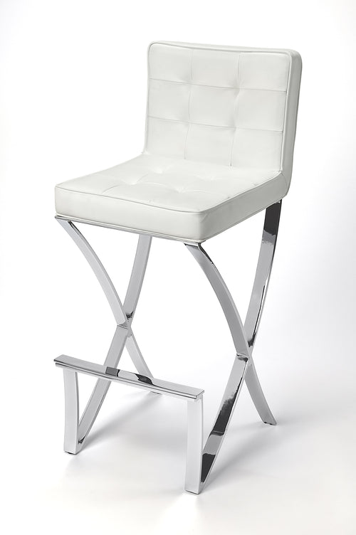 DARCY - CHROME PLATED FAUX LEATHER - BAR STOOL