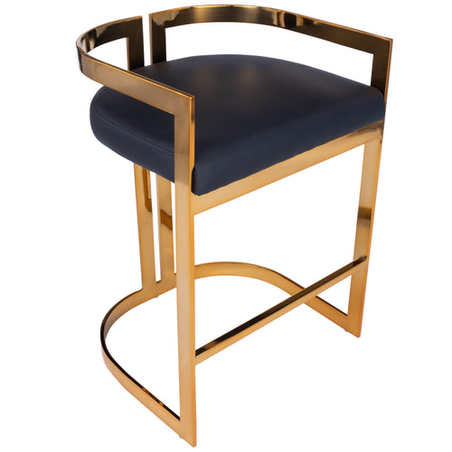CLARENCE - GOLD & BLACK FAUX LEATHER - COUNTER STOOL