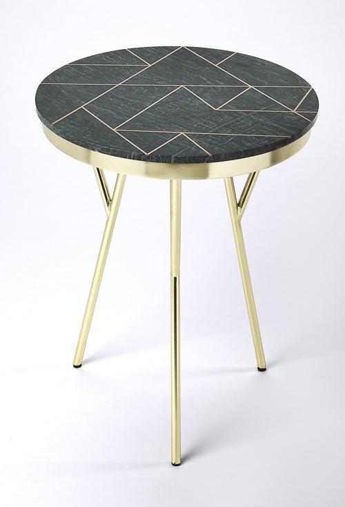 HAVEN - GREEN MARBLE & BRASS - ACCENT TABLE