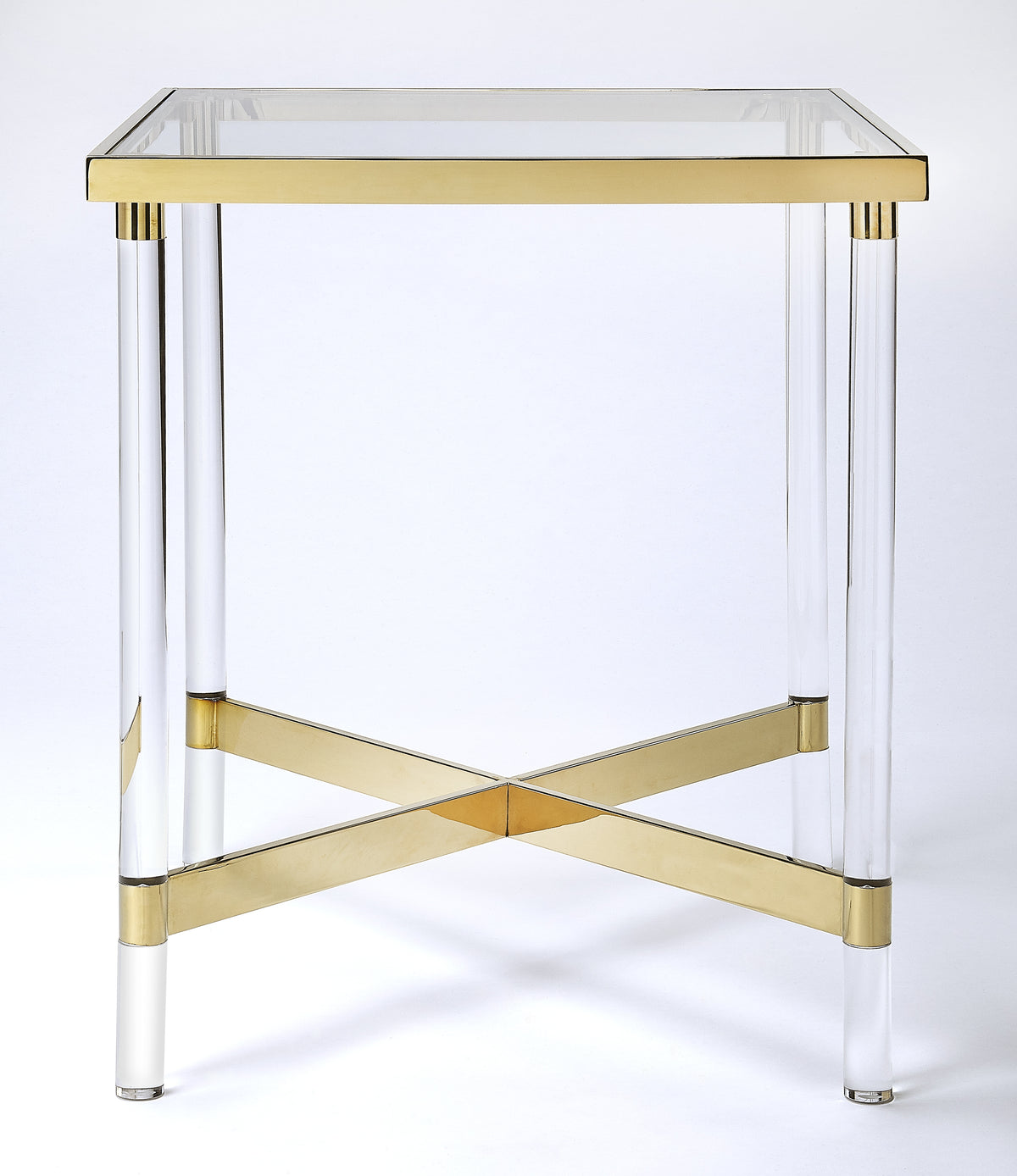 CHARLEISE - ACRYLIC & GOLD - SQUARE END TABLE