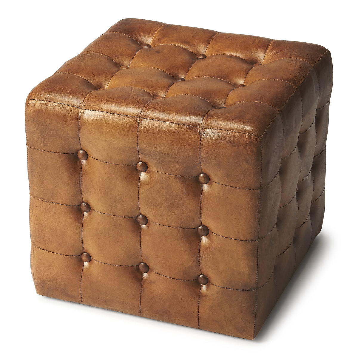 LEON - BROWN LEATHER - OTTOMAN
