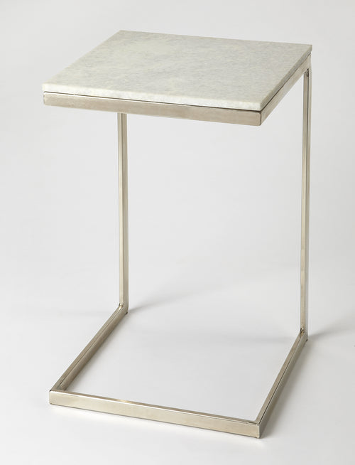 LAWLER - NICKEL METAL & MARBLE - END TABLE