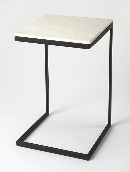 LAWLER - BLACK METAL & MARBLE - END TABLE