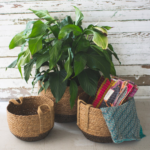 Jute Baskets with handles, set of 3