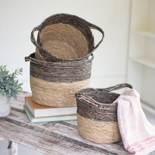 Round Wove Baskets, set of 3