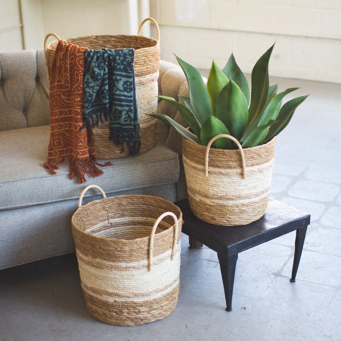 Two Toned Round Baskets, set of 3