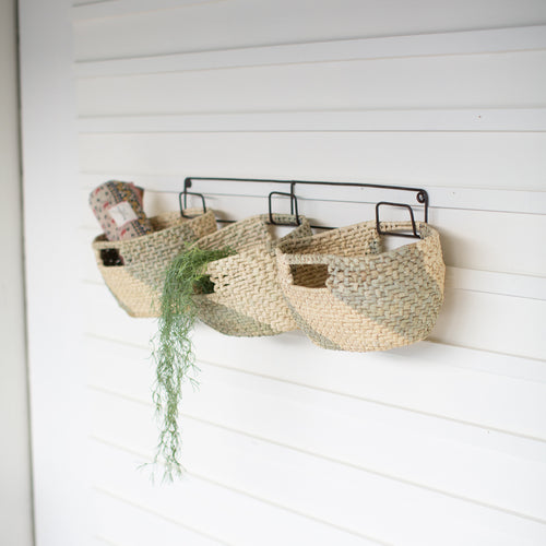 Set of 3 Seagrass Baskets on a Recycled Metal Frame