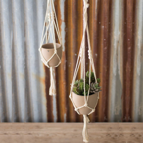 Four Clay Pot Macrame Hangers - Bello Lane