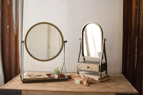 METAL FRAME TABLE MIRROR WITH DRAWER - Bello Lane