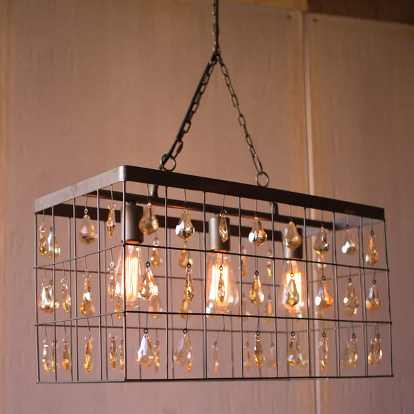 Rectangle Pendant Light With Amber Glass Gems - Bello Lane