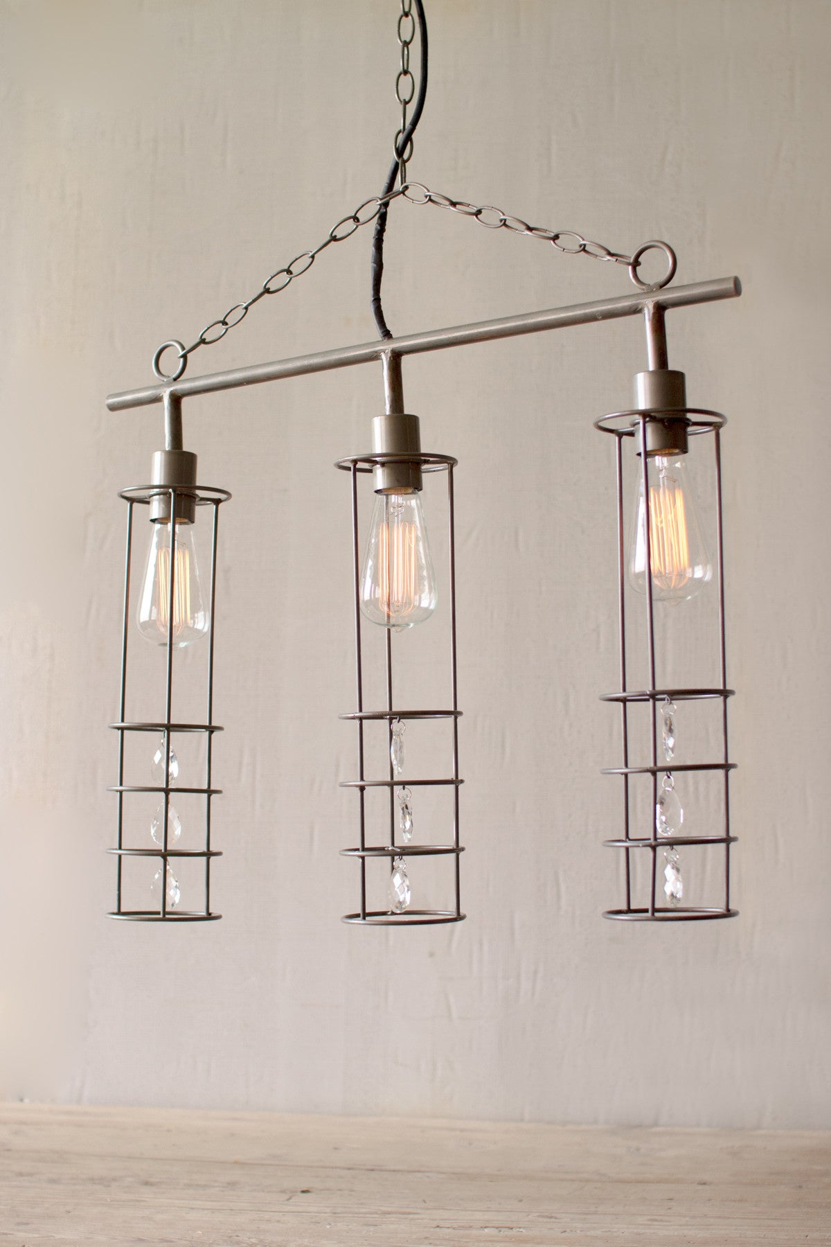 THREE CYLINDER PENDANT LIGHT WITH GLASS GEMS - Bello Lane