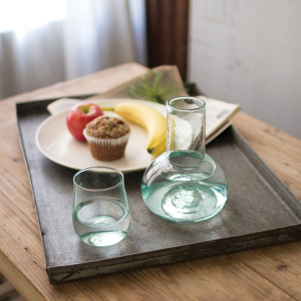 Glass Carafe And Drinking Glass