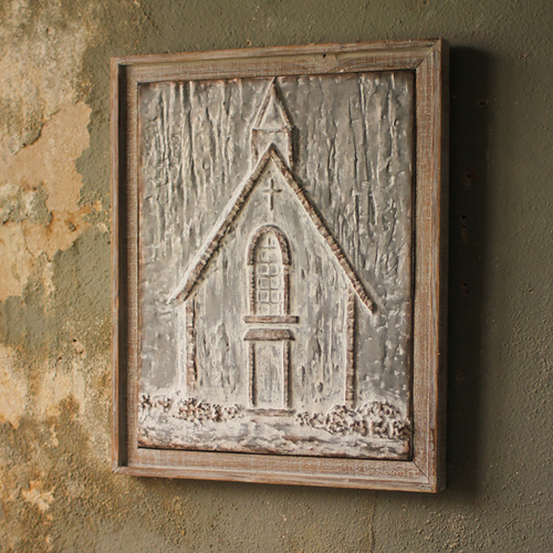 Pressed Metal Church Plaque