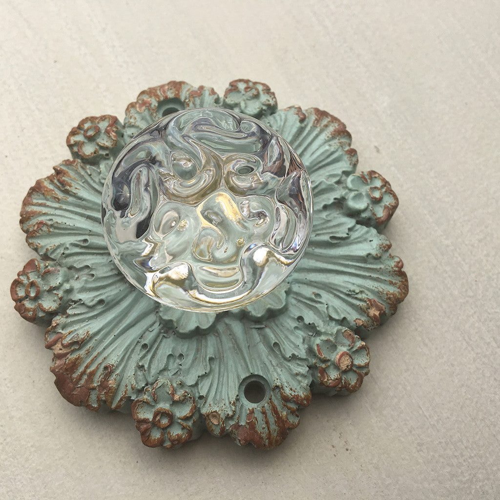 Antique Crystal Flower Knob - Bello Lane