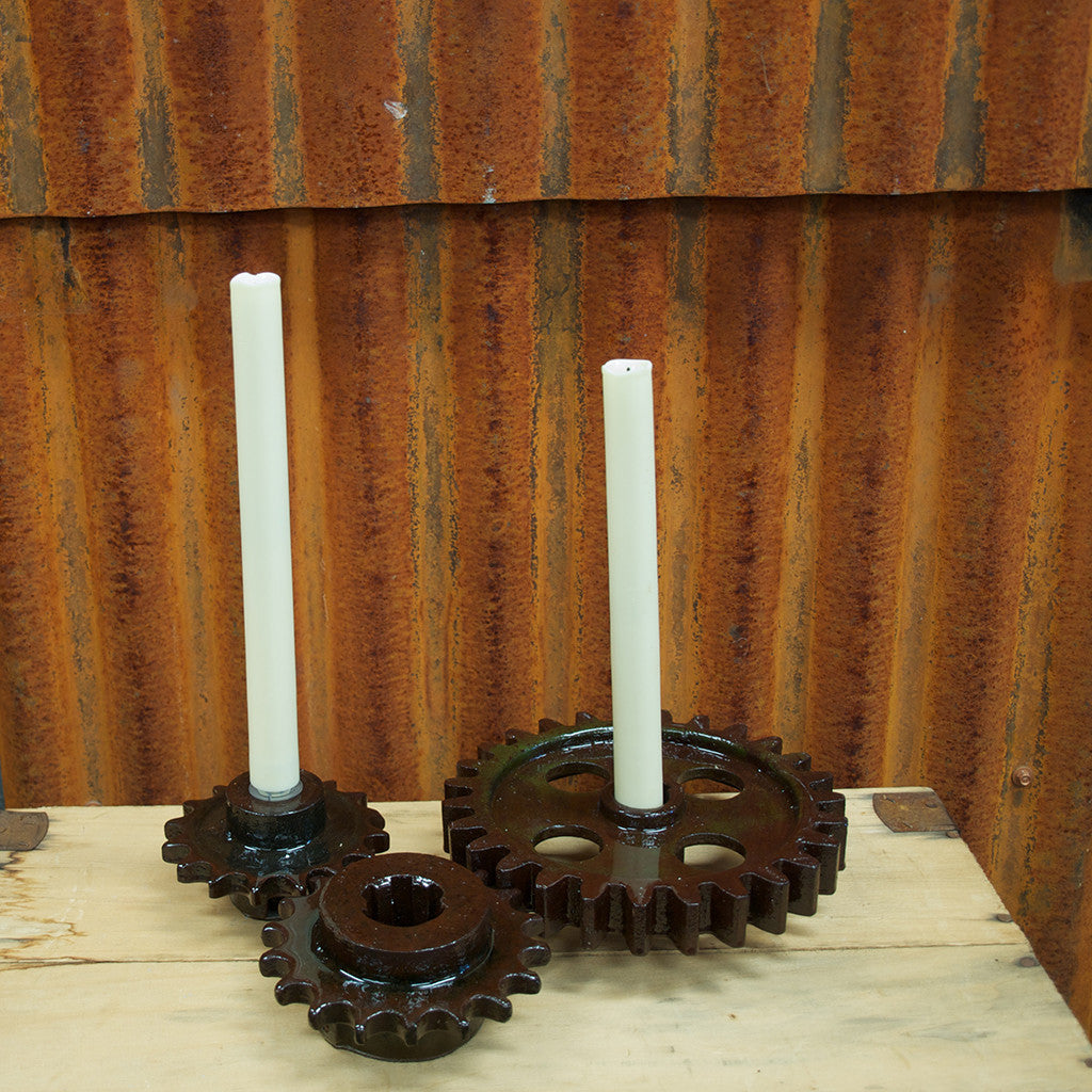 Recycled Gears Candle Holder set
