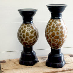 Leopard Print Candle Holders, set of 2 - Bello Lane