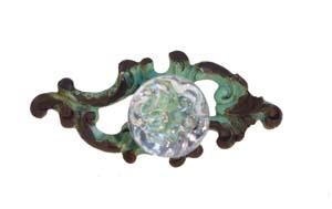 Antique Green Clear crystal resin knob drawer pull