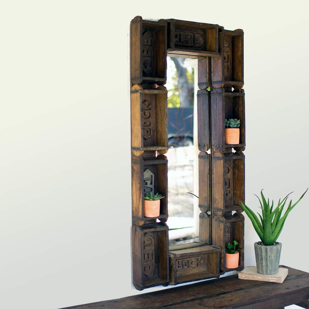 Wooden Brick Mirror - Bello Lane
