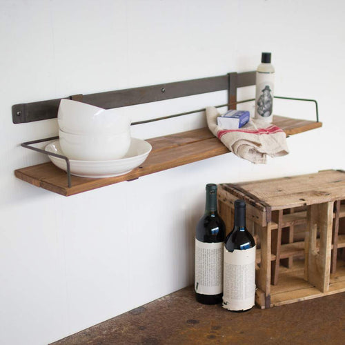 Wood Slat & Metal Wall Shelf