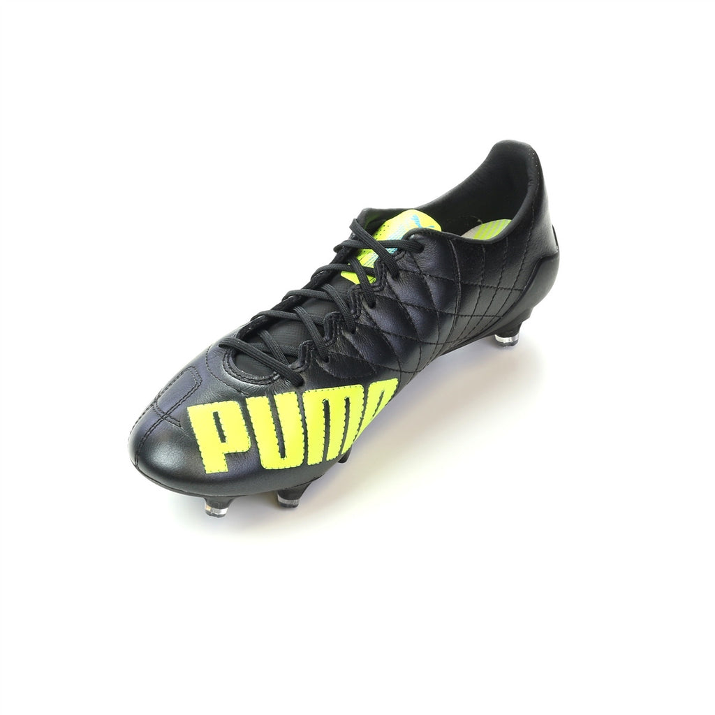 Puma evoSPEED SL LTH FG cuir soccer cleats black yellow