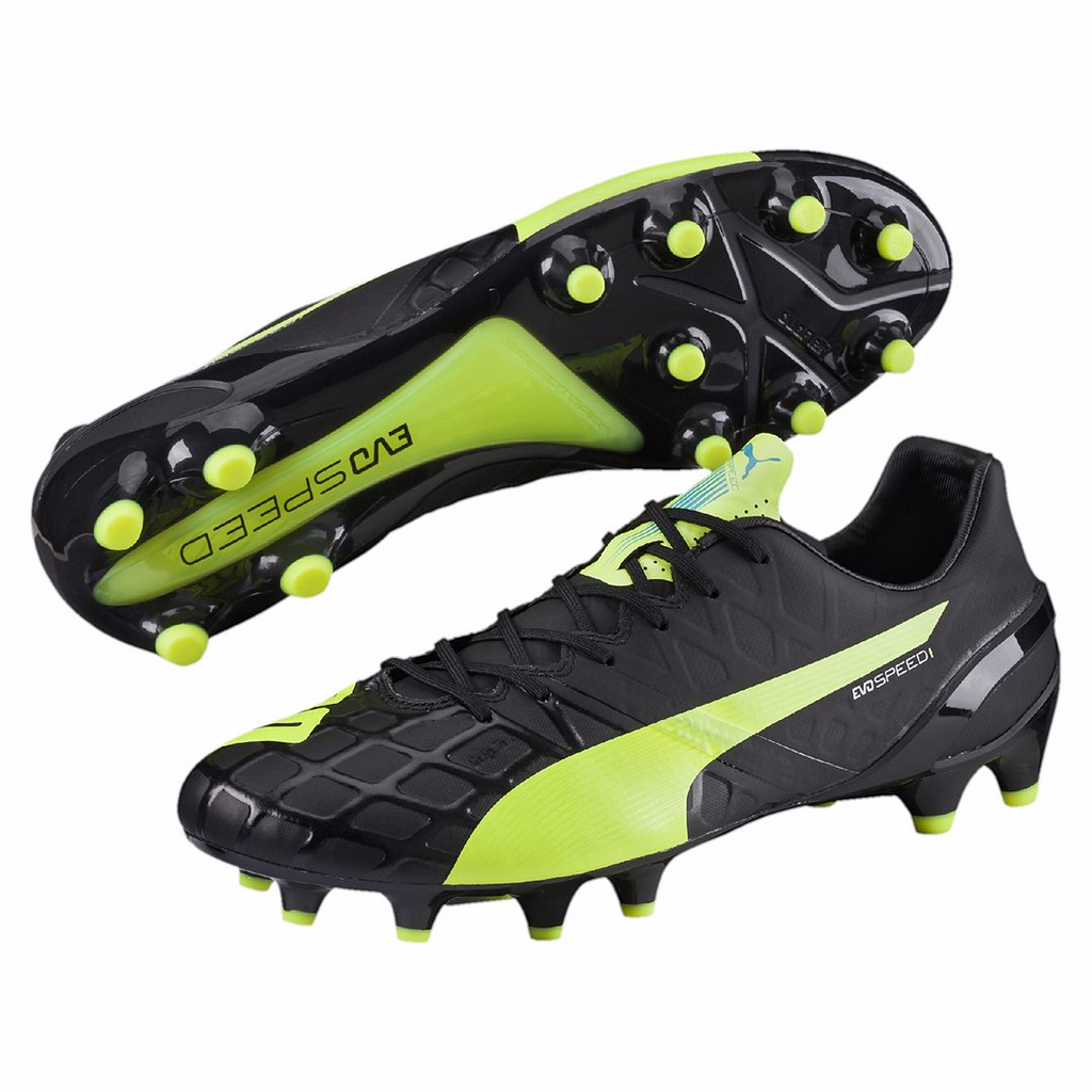 Puma evoSpeed 1.4 FG soccer cleats FG black yellow pair