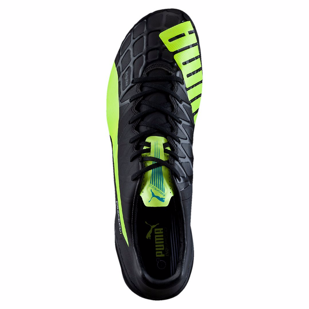 Puma evoSpeed 1.4 FG soccer cleats FG black yellow uv