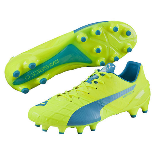 Puma evoSpeed 1.4 FG soccer cleats FG yellow blue pair