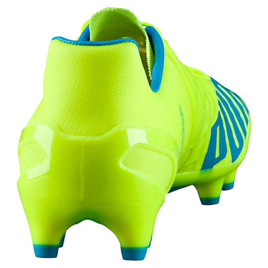 Puma evoSpeed 1.4 FG soccer cleats FG yellow blue rv