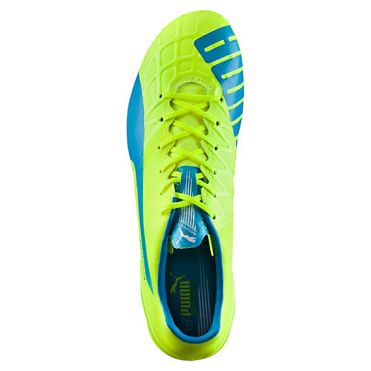 Puma evoSpeed 1.4 FG soccer cleats FG yellow blue uv