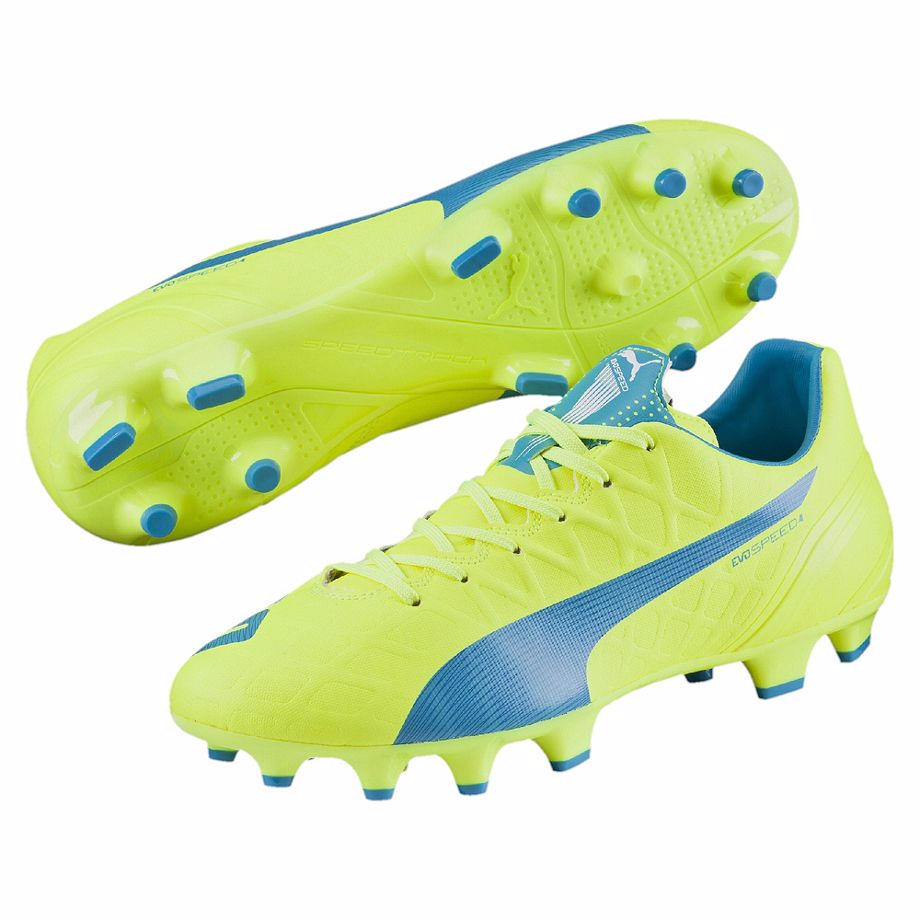 Puma evoSpeed 4.4 FG soccer cleats yellow blue pair
