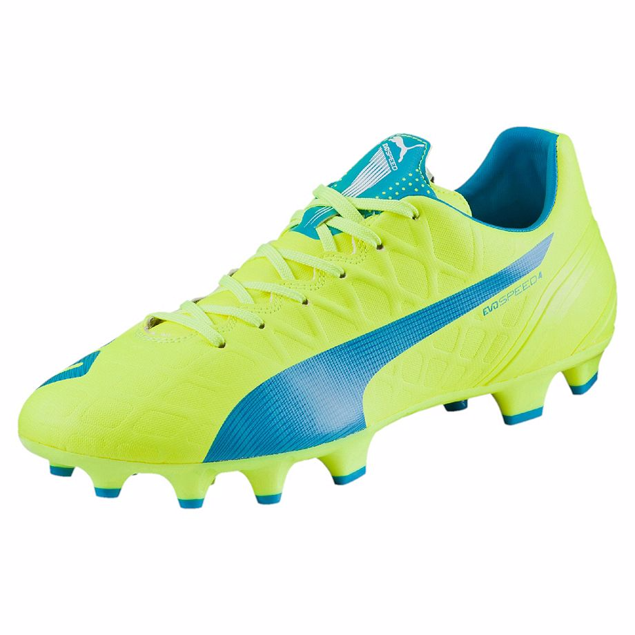 Puma evoSpeed 4.4 FG soccer cleats yellow blue