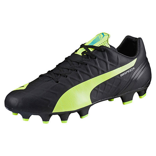 Puma evoSpeed 4.4 FG soccer cleats black yellow
