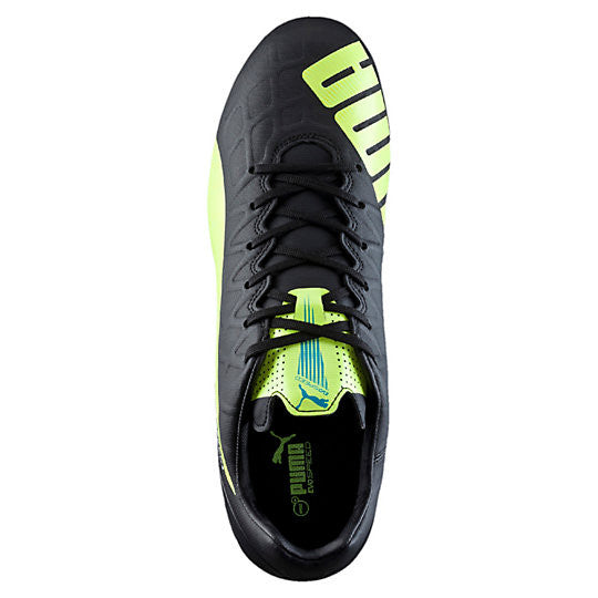 Puma evoSpeed 4.4 FG soccer cleats black yellow uv