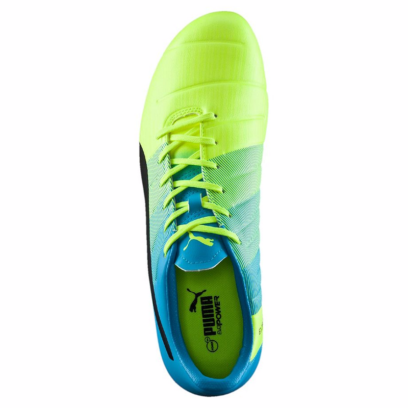 PUMA evoPOWER 3.3 FG soccer cleats yellow blue uv