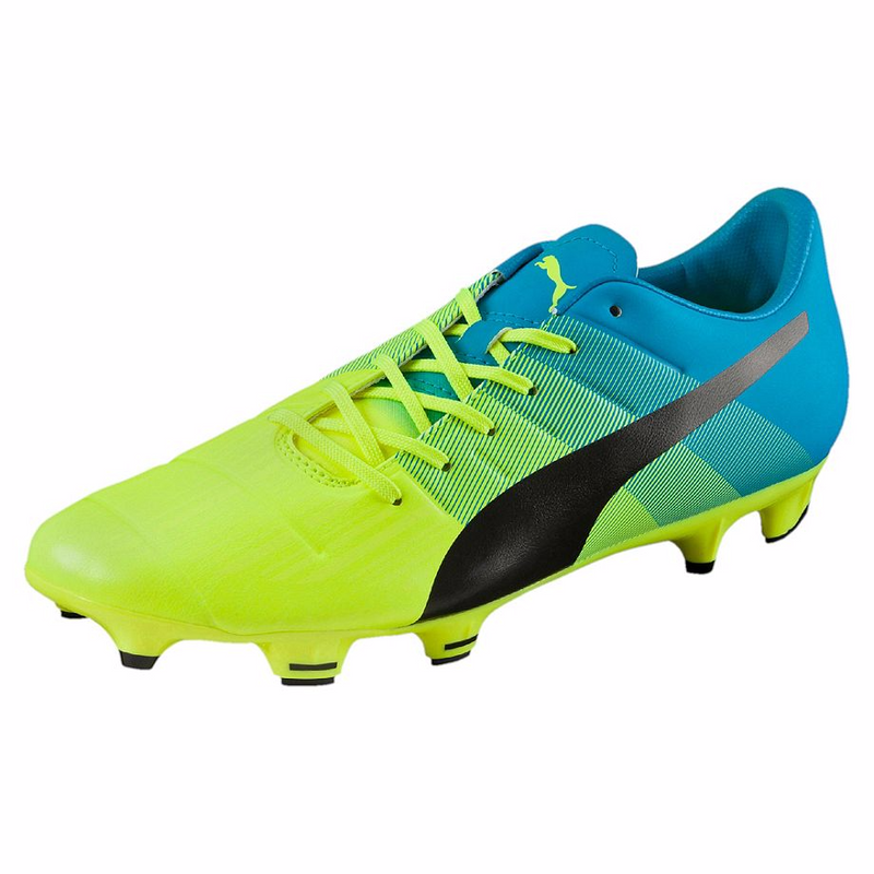 PUMA evoPOWER 3.3 FG soccer cleats yellow blue