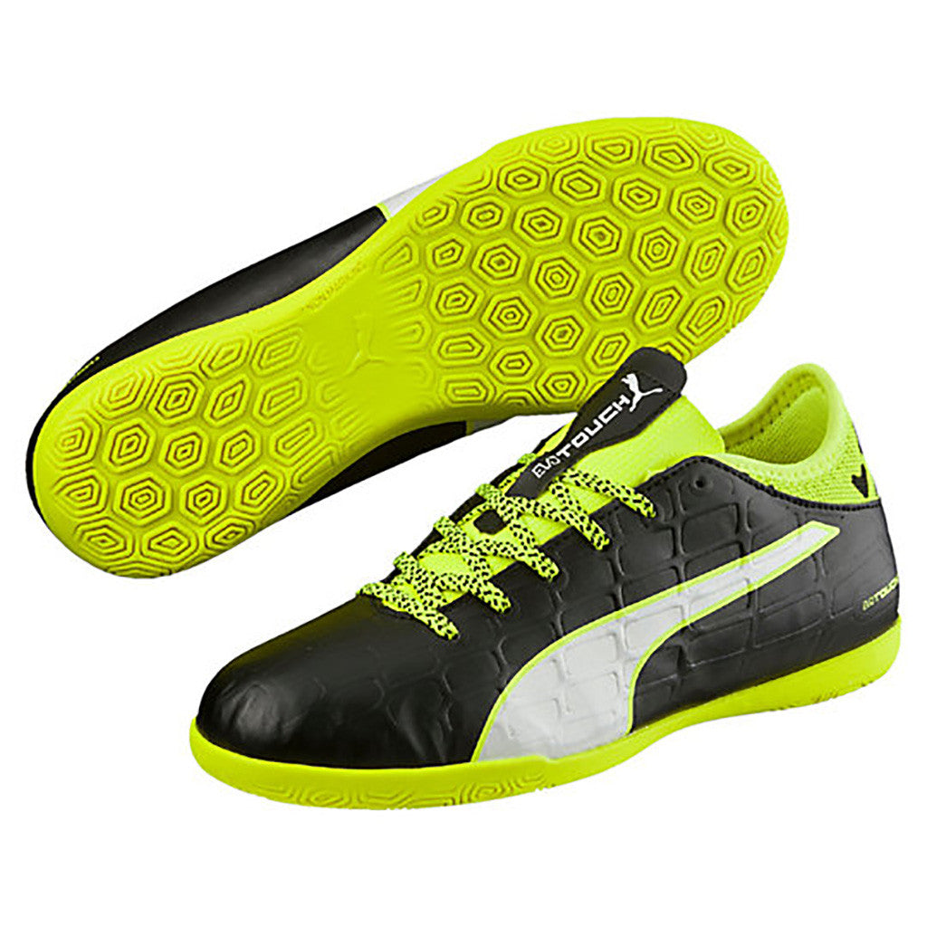 Puma evoTOUCH 3 IT JR indoor soccer shoes black yellow pair