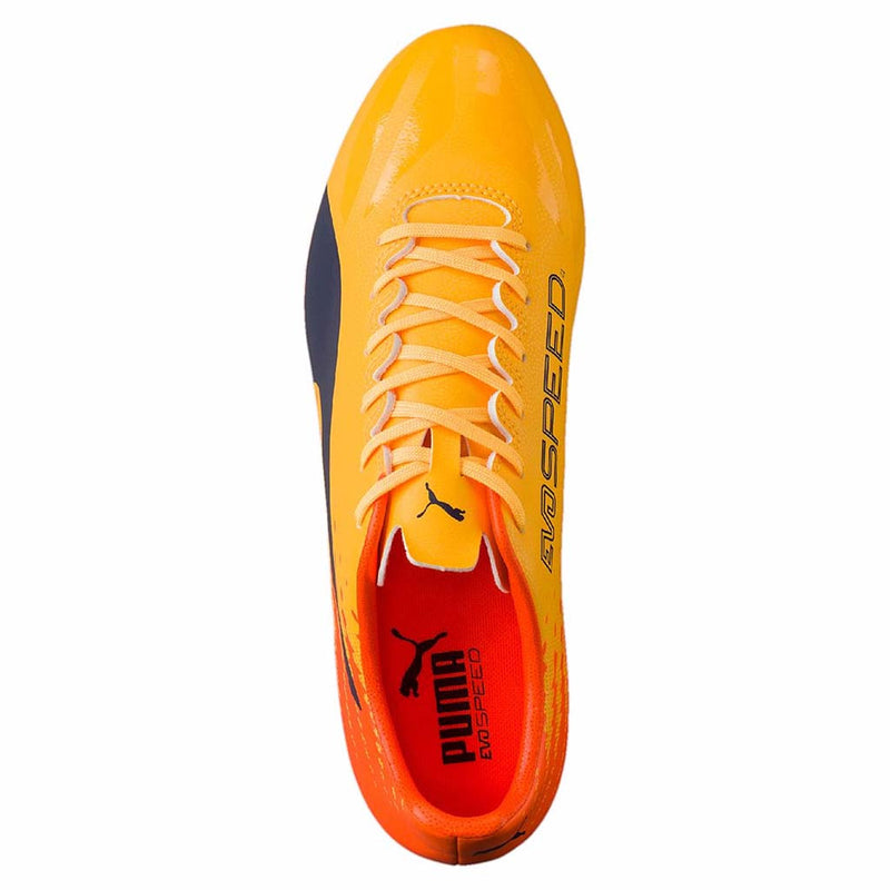 Puma evoSPEED 17.4 FG soccer cleats orange blue uv
