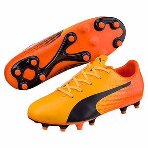 Puma evoSPEED 17.5 FG junior soccer cleats orange bleu paire