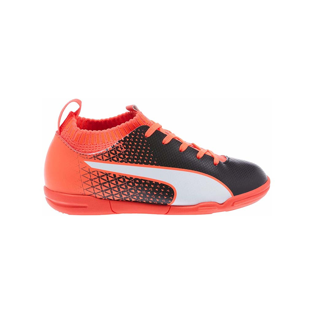 Soulier de football futsal PUMA evoKnit IT rouge blanc noir Junior Soccer Sport Fitness