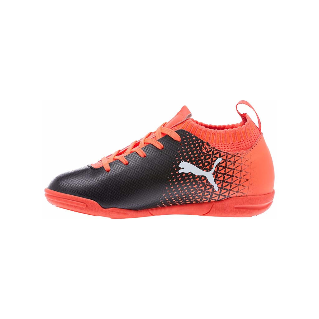 Soulier de football futsal PUMA evoKnit IT rouge blanc noir vue lat Junior Soccer Sport Fitness