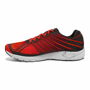 Soulier de course type racer Brooks Asteria pour homme toreador rouge noir vue laterale interne