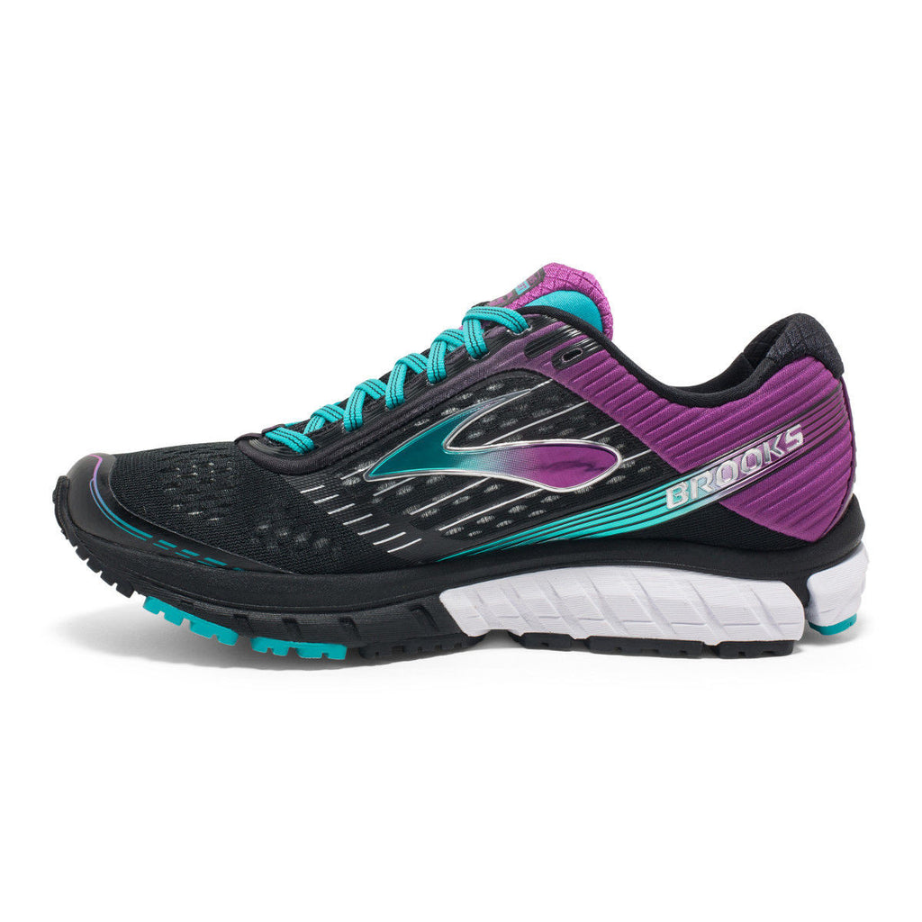 Soulier de course a pied femme Brooks Ghost 9 noir pourpre vue laterale interne