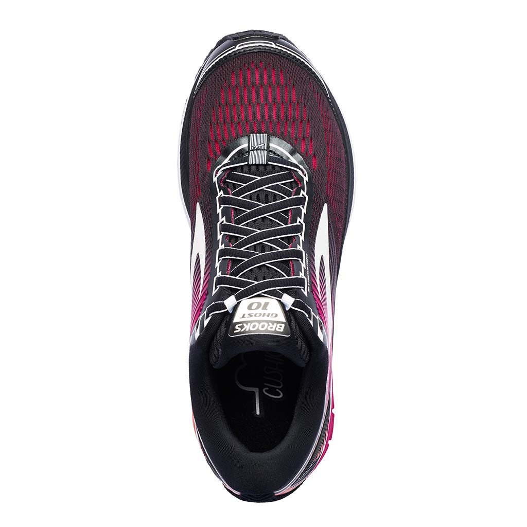 Brooks Ghost 10 running shoe black pink peacock living coral uv
