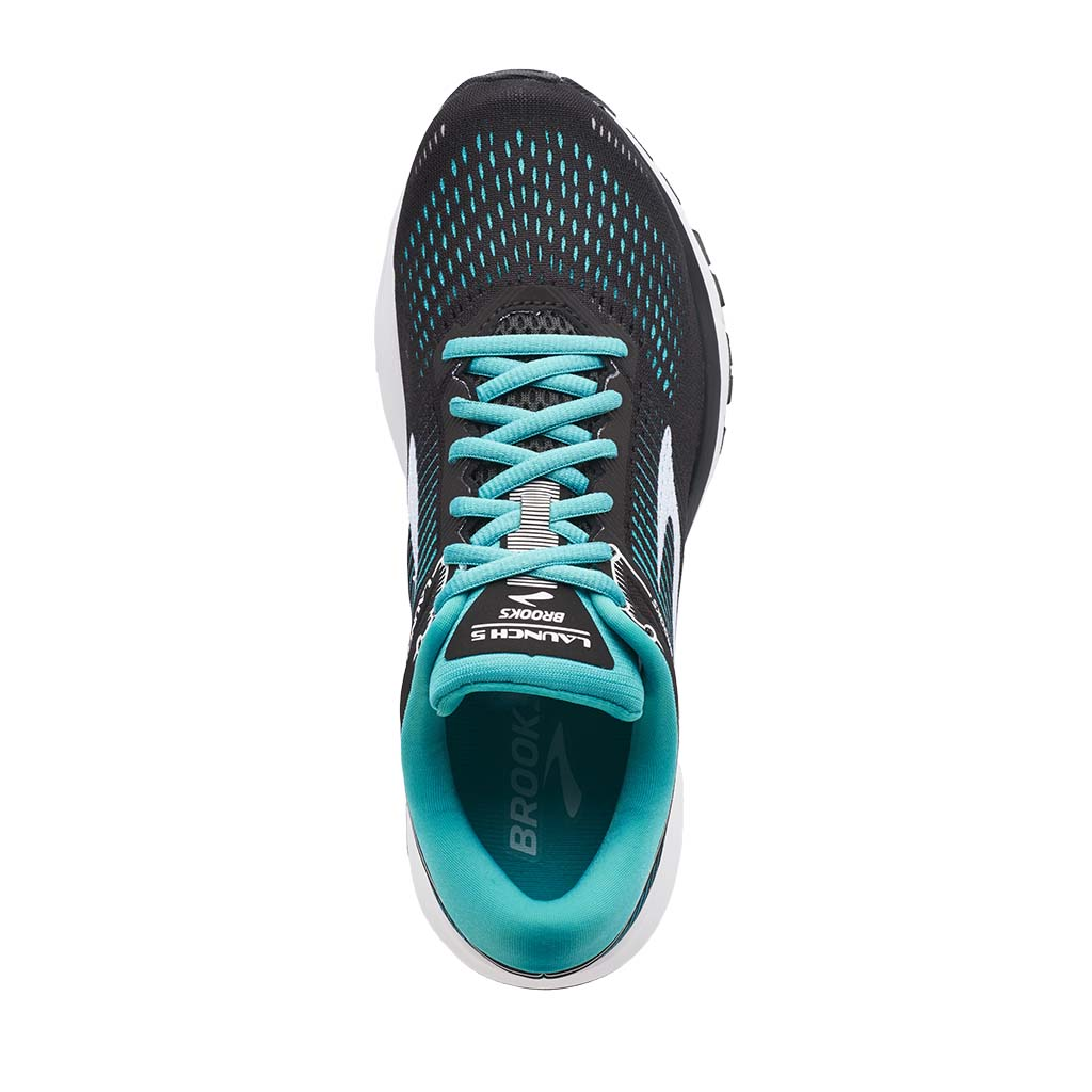 Brooks Launch 5 women's running shoes black teal green white uv